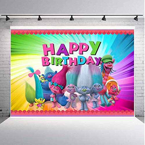 TJ 7X5FT Trolls Poppy Animation Movies Background Happy Birthday Theme Party Photography Backdrops Baby Shower Colorful Decor Banner Photo Booth Studio Props Vinyl ()