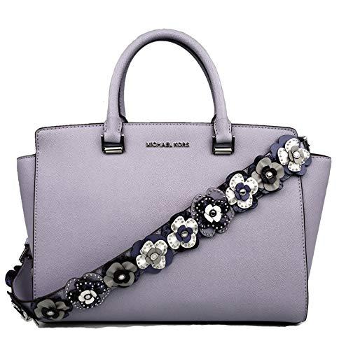 Michael Kors Selma Saffiano Leather Large Top Zip Satchel Crossbody Bag Purse Handbag (Lilac - Michael Zip Top Satchel Kors