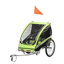 Lightweight Foldable Kids Bike Trailer – Via Velo Maverick Green Baby Stroller Jogger, Bicycle Trailer For Outdoor Activities, Including 2 Seats, Great Transport Tool