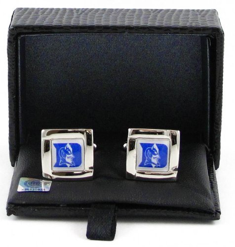 NCAA Duke Blue Devils Square Cufflinks With Square Shape Engraved Logo Design Gift Box Set