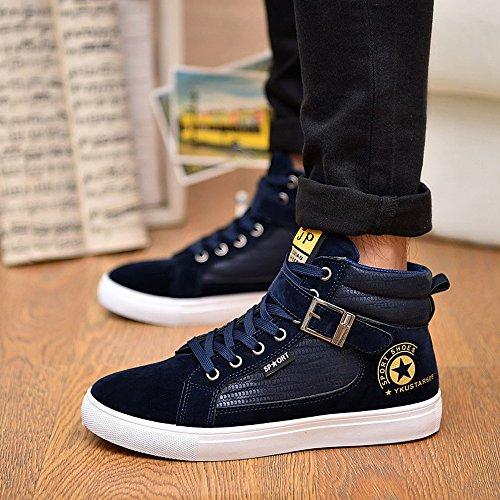 Schnürung Shopping Sneaker Cricket Navy Faux Go Sportschuhe Easy Top High Wildleder Herren Schuhe Flache Gürtelschnalle A47xP0