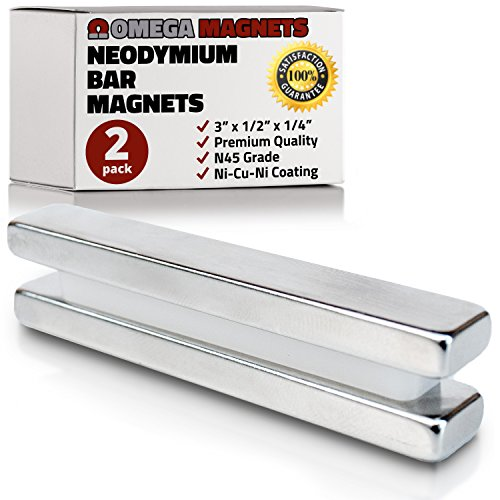 Strong Neodymium Bar Magnets (2 Pack) - Powerful, Rectangular Rare Earth Magnets - N45 Industrial Strength NdFeB Block Magnet Set for Misti, DIY, Crafts - 3