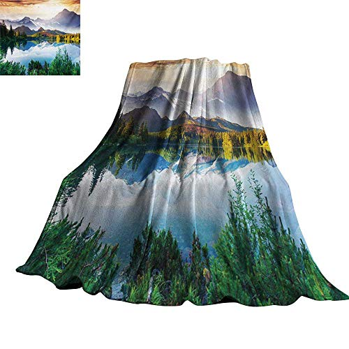Nature,Baby Blanket Winter Scenery in The Mountains Greenery ICY Lake Idyllic Early Morning Sunrise View Plush Microfiber Blanket 80