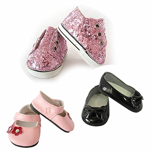 18 inch Baby Girls Doll Shoes,AG Doll Shoes Toys Set-3 Pair