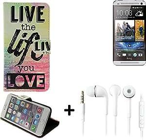360° Funda Smartphone para HTC One Dual SIM, 'live the life you love' + auriculares   Wallet case flip cover caja bolsa Caso Monedero BookStyle - K-S-Trade