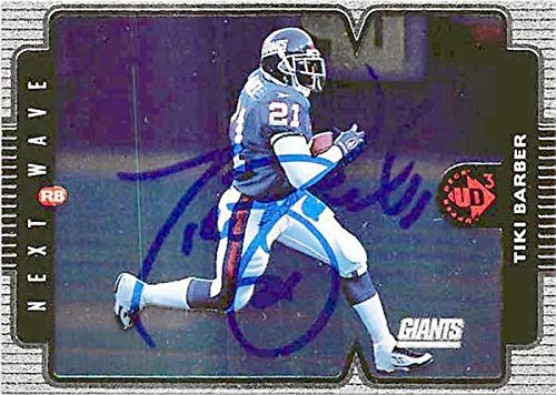 Tiki Barber autographed football card (New York Giants) 2006 Topps #5 RB Madden 07 EA Sports - NFL Autographed Football Cards ()