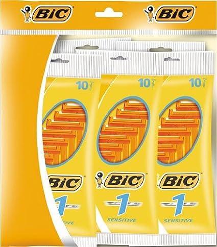Bic 1 Sensitive - 5 packs de 10 afeitadoras desechables para ...