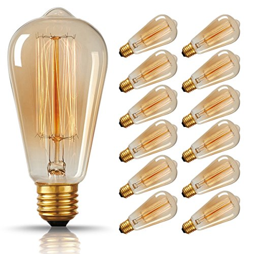 Amber Art Glass Night Light (DORESshop Vintage Edison Bulbs 60W Squirrel Cage Filament Incandescent Antique Light Bulb for Home Light Fixtures E26 E27 Base ST64 110V - 12 Pack)