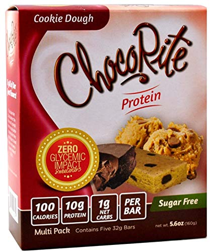 ChocoRite Protein Bars in Cookie Dough Flavor Healthy Chocolate Keto Snacks with Protein - Sugar-Free and Low Carbs - Multi Pack Box (5 Bars x 32grams)