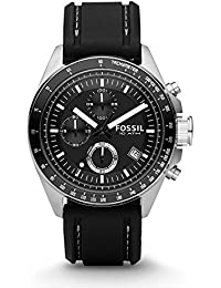 Men's CH2573 Decker Stainless Steel Chronograph Watch With Black Silicon Band