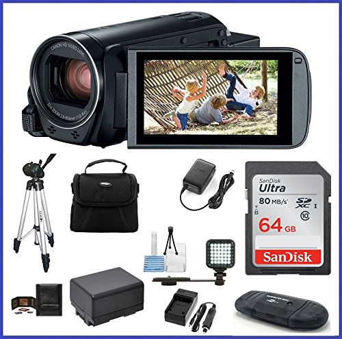 Canon VIXIA HF R800 Full HD Camcorder Ultimate Bundle, includes: 64GB SDXC Memory Card, LED Light, Tripod, Spare Battery and more…