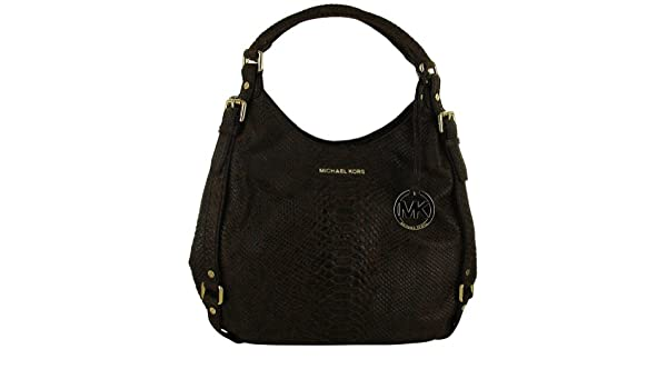 a9a1c8a5b15ba1 Amazon.com: Michael Kors Bedford Large Python-Embossed Mocha Leather Tote:  Clothing