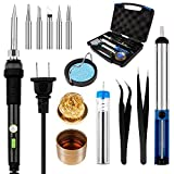Smraza 8 in 1 Soldering Iron Kit 60W with ON/OFF Switch Adjustable Temperature, 5pcs Iron Tips, Tin Wire Tube, Desoldering Pump, Stand, Tweezers and Solder Tip Cleaning Wire with a Tool Case