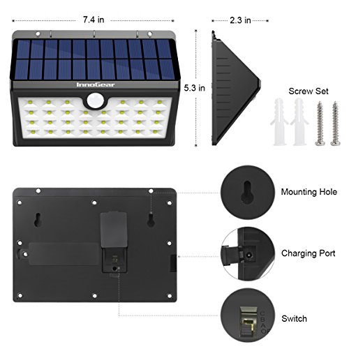 InnoGear Upgraded Solar Lights 30 LED Wall Light Outdoor Security Lighting Nightlight with Motion Sensor Detector for Garden Back Door Step Stair Fence Deck Yard Driveway, Pack of 4 by InnoGear (Image #3)