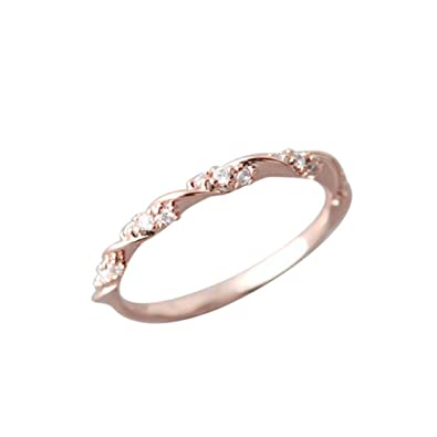 Amazon Com Napoo Women Simple Small Zircon Water Diamond Ring Jewelry