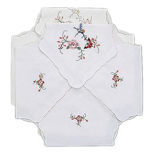 Bread Basket Liner - Bread Basket Liners Bun Warmers White Perma-Press Cloth with Butterfly Embroidery 18 x 18 Inch (Set of 2)