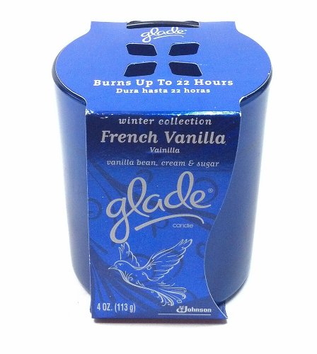 (Glade Winter Collection Scented Candle French Vanilla Burns up to 22 Hours with Vanilla Bean Cream and Sugar 4 Oz. (1 Each) )