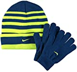 Nike Boys Cold Weather Snow Cuff Style Stripe Hat and Gloves Set (8/20, Gym Blue/Volt/Gym Blue)