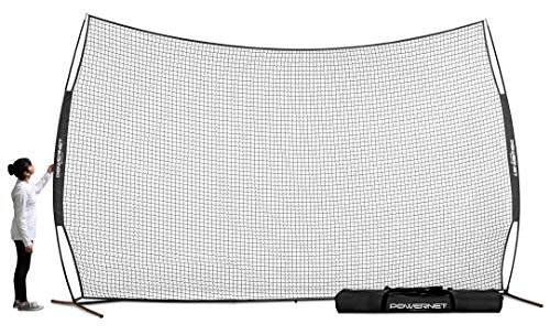 PowerNet 16 ft x 10 ft Sports Barrier Net | 160 SqFt of Protection | Safety Backstop | Portable EZ Setup Barricade for Baseball, Lacrosse, Basketball, Soccer, Field Hockey, Softball (Black)