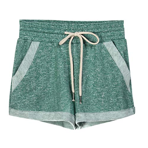 (★QueenBB★ Women's Yoga Elastic Waist Running Athletic Shorts with Pockets and Drawstring Activewear Lounge Shorts Green)