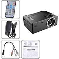 1080P HD LED Home MulitMedia Theater Cinema USB TV VGA SD HDMI Mini Projector (Black, A)