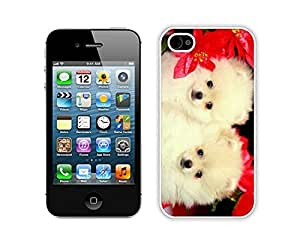 Special Custom Made Christmas Dog White iPhone 4 4S Case 33