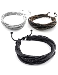 Konov Jewelry 3pcs Leather Mens Womens Bracelet, Surfer Wrap Bangle, fit 8-9 inch, Black Brown White, with Gift Bag, C22842