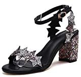 Aisun Women's Ankle Strap High Heel Sandals - Glitter Sequin Star - Open Toe Buckled Chunky (Black, 6 B(M) US)