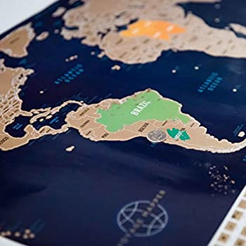 Amazoncom Scratch Off World Map Poster With US States And - Us states traveled map