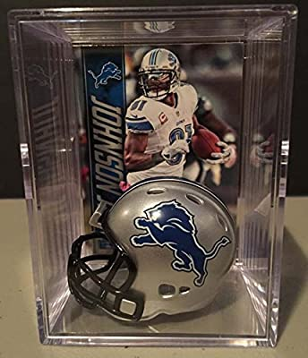 Detroit Lions NFL Helmet Shadowbox w/ Calvin Johnson Jr. Megatron card
