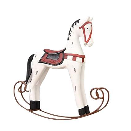 Cavallo A Dondolo Legno Natale.Tubayia Cavallo A Dondolo In Legno Decorazione Da Tavolo
