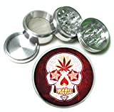 Day of the Dead Sugar Skull P()t Leaf 4Pc Aluminum Tobacco Spice Herb Grinder Mexican Calavera