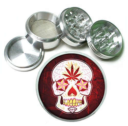 Day of the Dead Sugar Skull P()t Leaf 4Pc Aluminum Tobacco Spice Herb Grinder Mexican Calavera by Helo