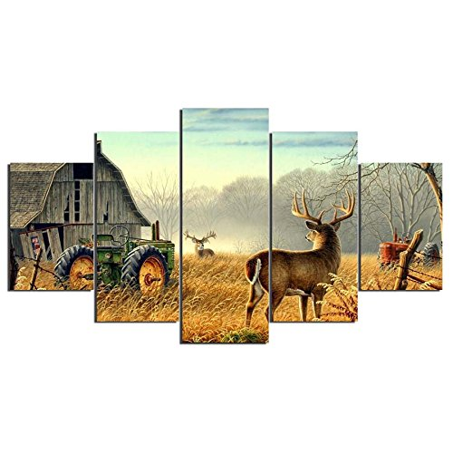WNIUN ART Canvas Paintings Living Room Wall Art Framework HD Prints 5 Pieces Animal Whitetail Deers Poster Home Decor Farm House Pictures,size 3,With Framed