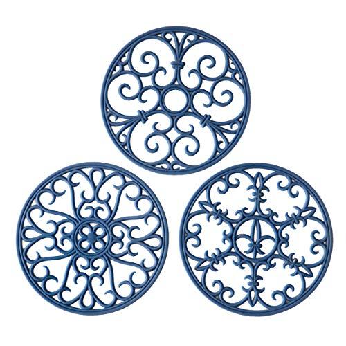 Silicone Trivet Mat - Hot Pot Holder Hot Pads for Table & Countertop - Teapot Trivet Kitchen Trivets - Non-Slip & Heat Resistant Modern Kitchen Hot Pads for Pots & Hot Dish Navy Blue Trivet Set of 3 (Decor White And Navy Blue)