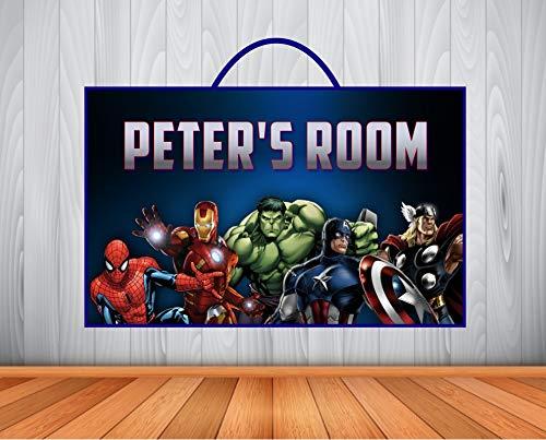 Kids Room Decor Personalized Kids Sign Marvel Avengers Wall Sign Marvel Avengers Personalized Wooden Name Sign Home Kitchen Home Decor