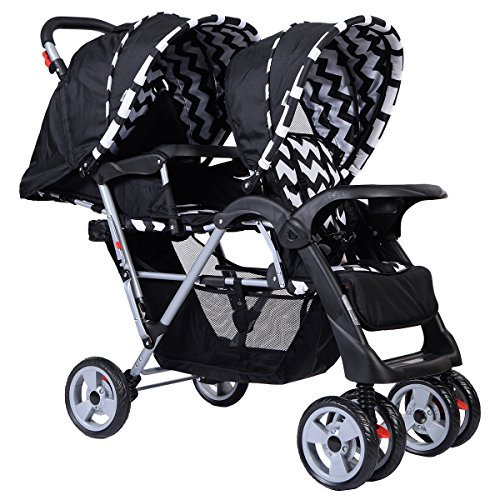 Costzon Double Stroller Infant Baby Pushchair Convenience Twin Seat (Black) by Costzon