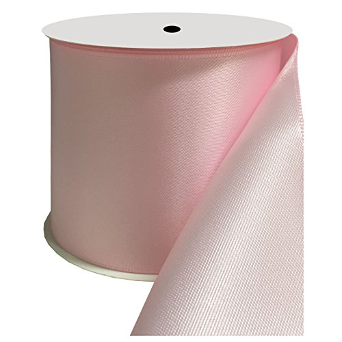 DUOQU 3 inch Wide Double Face Satin Ribbon 10 Yards Roll Multiple Colors Pearl Pink