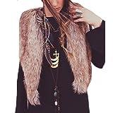 Paymenow Women Coat, Long Hair Warm Faux Fur Vest Waistcoat Winter Coat Jacket Outwear Cardigan (Brown, M)