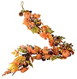 72 Inch Pre-Lit LED Fall Garland With Lights - Maple Leaf Garland With Pumpkins, Gourds, Pine Cones and Berries with Wrapped Base- Battery Operated