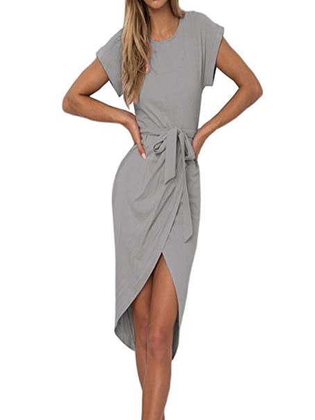 7305d7dd75b0 Mini Abito Asimmetrico in Tinta Unita Slim Fit Cintura Abito Slim da Donna  Manica Corta da Lavoro Estivo Vestiti Eleganti  Amazon.it  Abbigliamento