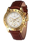 KS Imperial Day Date Gold Case Brown Leather Men Automatic Mechanical Wrist Watch KS162