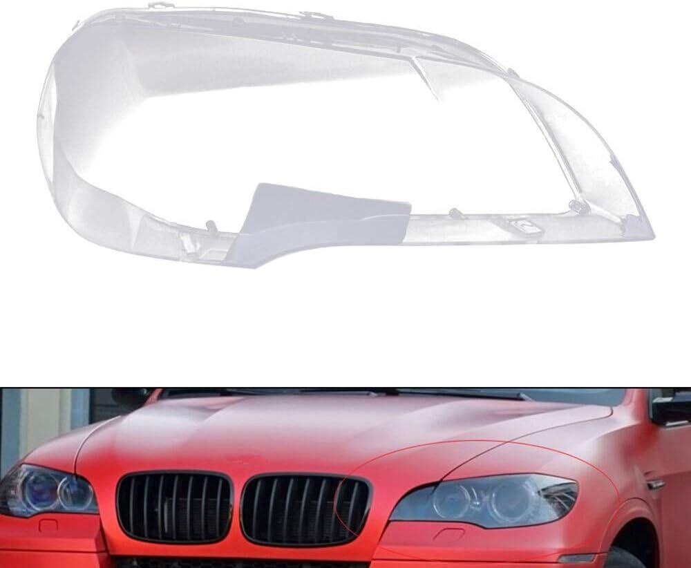 RKRZLB Lente per Faro Faro Copertina Anteriore dellautomobile Fit for BMW X5 E70 2007-2013 Vetro Trasparente Fari Paralume della Lampada Cupolino Copriobiettivo Accessori Auto Color : Left