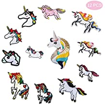 Joylish 12PCS Unicorn Iron on Patches for Backpacks Jackets Jeans, Kids DIY Embroidered Patch Set