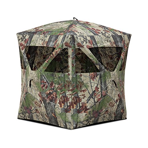 Barronett Radar Ground Hunting Blind, 2 Person Pop Up Portable, Backwoods Camo