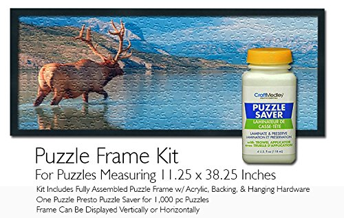 Jigsaw Puzzle Frame Kit - for 11.25x38.25 Inch Puzzles -Craft Medley Puzzle Glue ()
