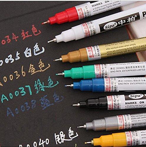 8 Colors Oil-Based Paint Marker Pens Fine Point 007mm pigma neelde pens Assorted Colors gold silver metallic markers graffiti paint Tyre Care Pencils