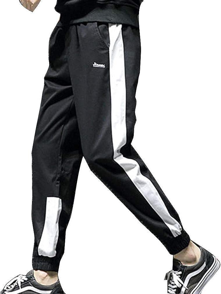 fuxinhe Uomo Pantaloni Sportivi Tempo Libero Sciolto Tinta Unita Lettera Stampa Pantaloni Sportivi di Grandi Dimensioni Vita Elastica Pantaloni Jogging