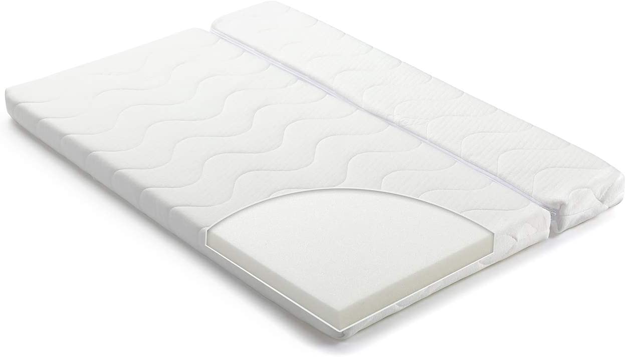 FabiMax Colchón Classic para Cama Auxiliar (90 x 55/40 cm), Espuma de Poliuretano, Fibra sintética, Blanco, 90x55/90x40 cm teilbar
