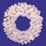48'' Pre-Lit Crystal White Artificial Christmas Wreath - Clear Dura Lights